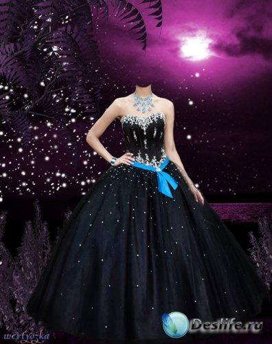 Женский psd костюм - Девушка в черном платье на фоне волшебного заката
