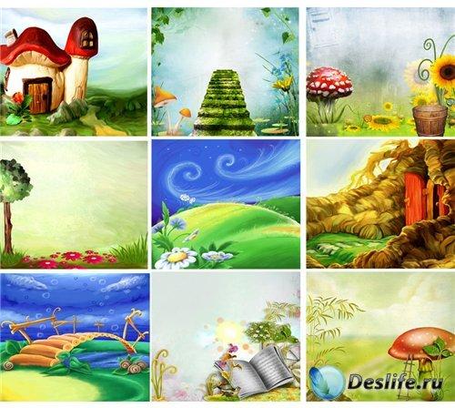 Подборка замечательных рисованных детских фонов