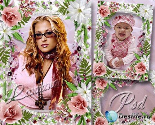 Рамочка для фото - Нежные цветы и жемчуг