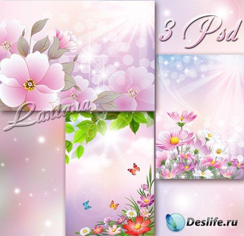PSD исходники для фотошопа - Полевые цветы на весеннем лугу