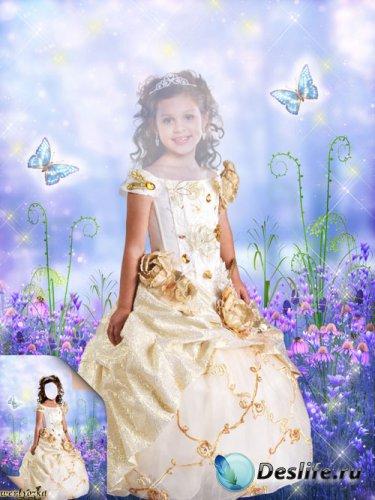 Детский костюм для фотошоп - Девочка в золотистом платье и бабочки