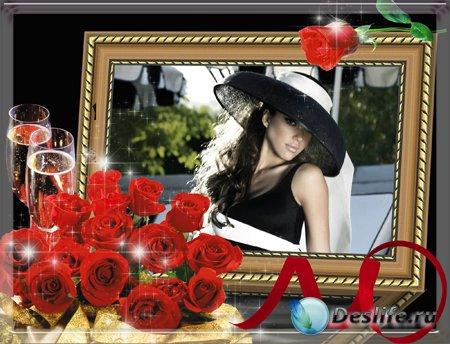 Три рамочки для оформления ваших фото с розами