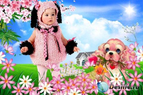 Детский фотокостюм для девочки - Прогулка с розовым щенком