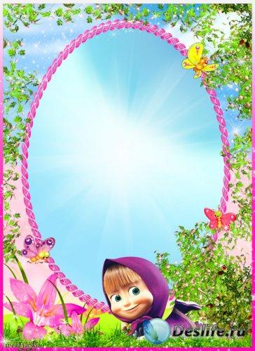 Детская рамка с Машей из мультфильма Маша и Медведь - Маша на цветочной луж ...
