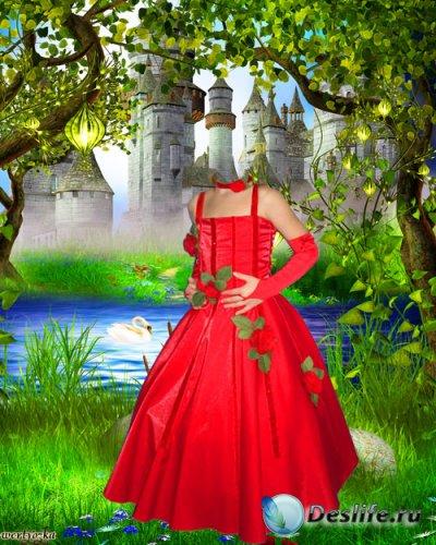 Детский костюм - Девочка в красном платье у озера с лебедем