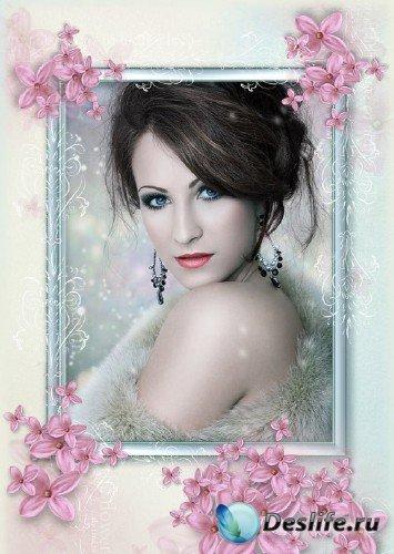 Женская цветочная фоторамка для фотомонтажа с розовыми цветами