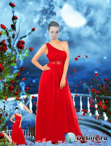 Многослойный женский psd костюм - Девушка в красном платье в лепестках роз