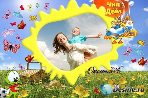 Детская фоторамка – Чип и Дейл летят на пикник