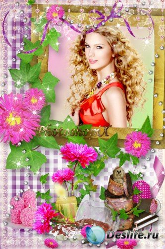 Цветочная фоторамка с астрами для Photoshop – Розовые грезы