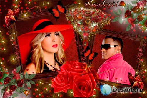 Романтическая фоторамка для Photoshop – Красота алых роз