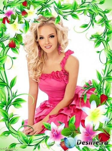 Цветочная рамка для фото - Букет из роз и дивных лилий