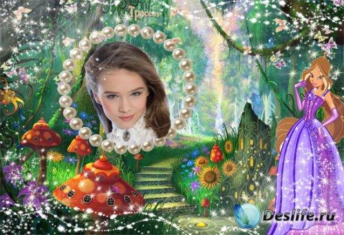 Рамочка для девочки  –  Винкс, Флора, в гостях у сказки