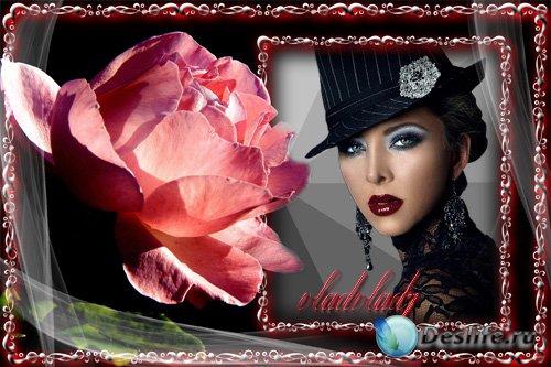 Стильная женская рамка с розой
