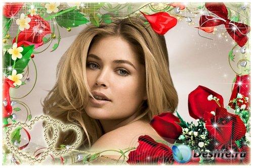 Романтические рамочки для влюбленных - Алые розы