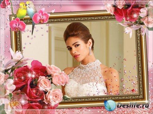 Рамочка для оформления фото - Розовые розы