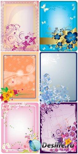 Цветочные рамки в векторе / Vector flowers frames