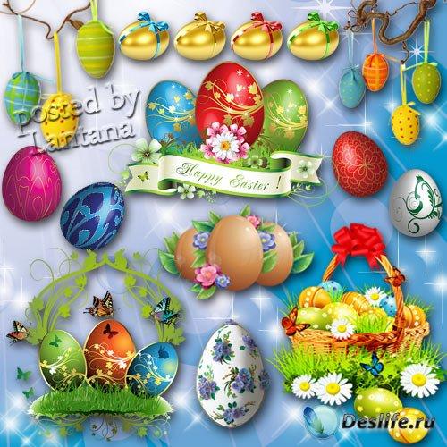 Клипарт на прозрачном фоне - Пасхальные яйца и композиции