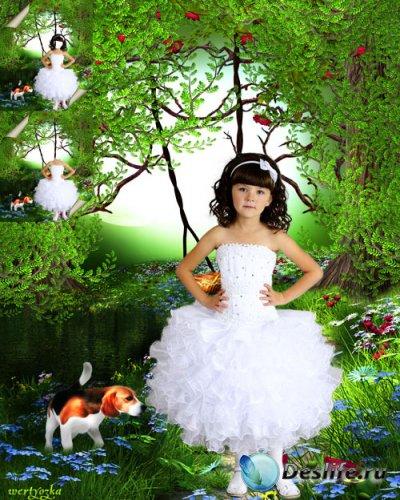 Многослойный детский psd костюм - Девочка в белом нарядном платье с маленьк ...