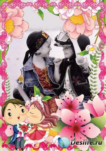 Детская рамка для фотошопа – Дарите девочкам цветы