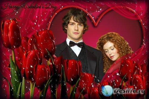 Фоторамка к Дню валентина с тюльпанами