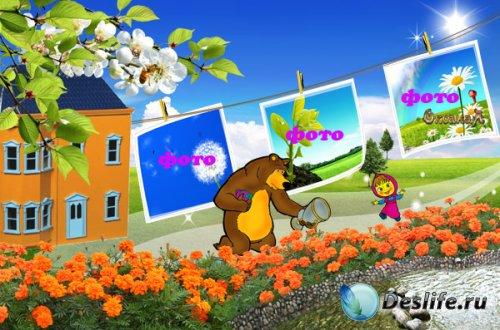 Рамочка на 3 фото – Маша и Медведь