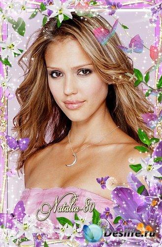 Цветочная рамочка для оформления фото - Волшебное цветение крокусов