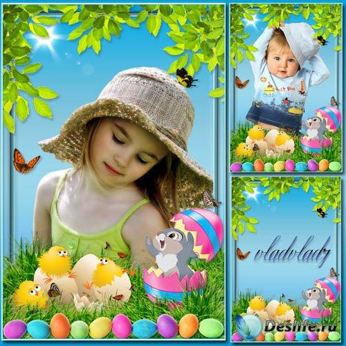Детская пасхальная рамка с зайчиком и цыплятами