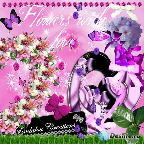 Скрап набор Flowers with love - Цветы з любовью