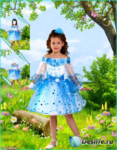 Многослойный детский psd костюм - Девочка в голубом платье на цветочной пол ...