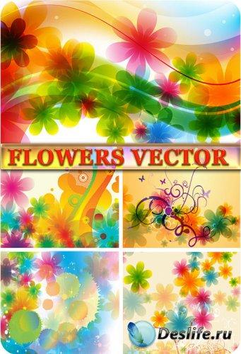 Цветочные фоны в векторе / Vector flowers backgrounds