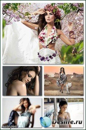 Набор женских костюмов для фотошопа - Гламур 9