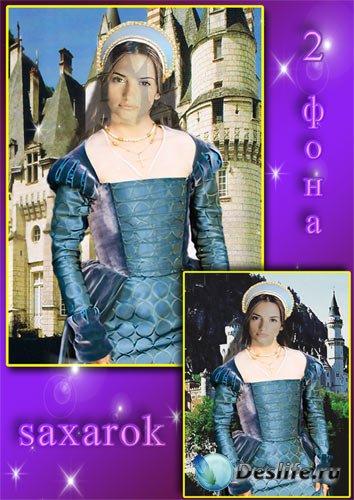 Женский исторический костюм - У замка, 2 фона