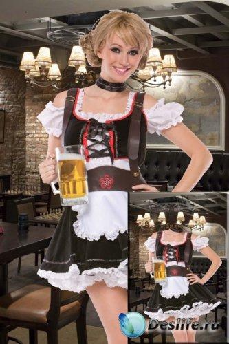 Женский костюм - Сексуальная официантка с кружкой пива