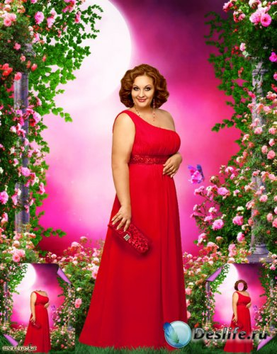 Многослойный psd костюм для пышных девушек - Очаровательная девушка в красн ...