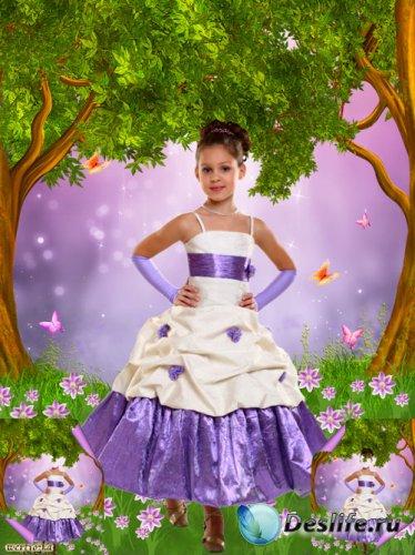 Многослойный детский psd костюм - Девочка в нарядном платье среди чудесных  ...