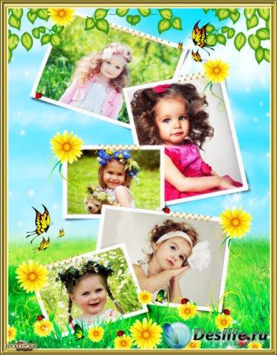 Детская рамка для фото - Божьи коровки и удивительные полевые цветочки