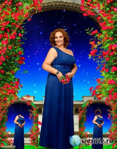Многослойный костюм для пышных женщин - Девушка в синем платье на фоне чуде ...
