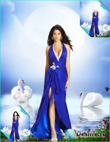 Многослойный женский psd костюм - Девушка и прекрасные белые лебеди