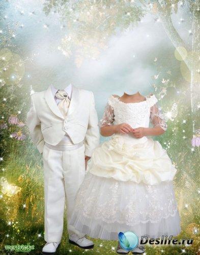 Многослойный парный детский костюм - Мальчик и девочка в волшебной сказке
