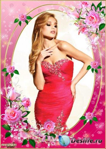 Цветочная рамка для фото - Прекрасные розовые розы как символ нежности и чи ...