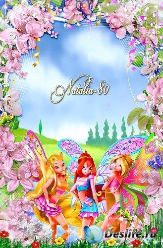 Яркая детская рамочка для оформления фото - Весна с принцессами Винкс