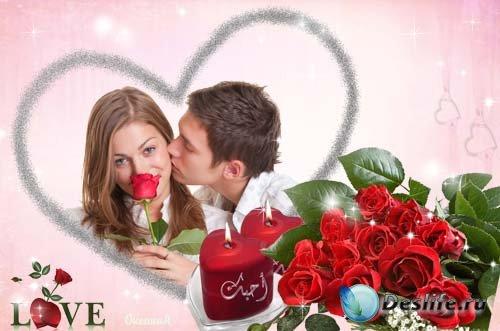 Рамка для фотошоп - Розы и Свечи