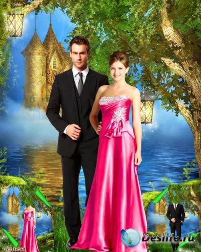 Многослойный парный psd костюм - Романтическая пара у озера с дивным замком