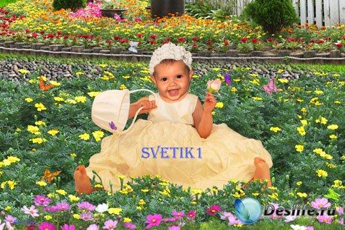 Детский шаблон для фото - Маленький цветочек