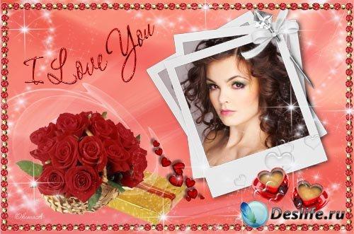 Романтическая рамка для фотошоп – Чашечки-сердечки