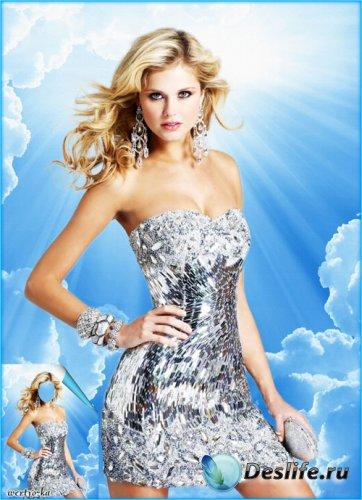 Женский костюм - Очаровательная блондинка в серебристом платье