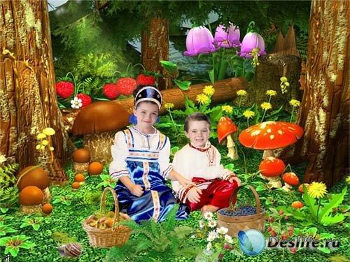 Шаблон детский Грибная полянка