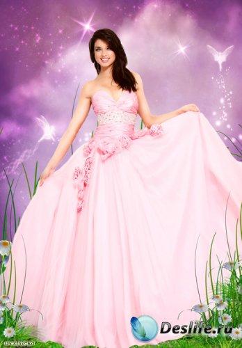 Женский psd костюм - Девушка в розовом платье с розами на сказочном фоне