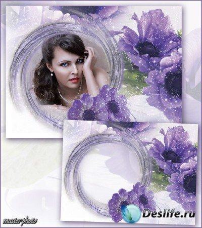 Цветочная рамка для фотошопа – Фиолетовая мечта