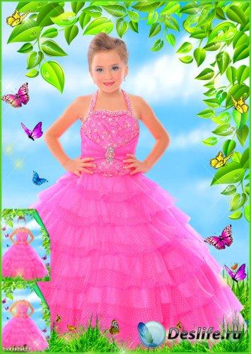 Детский костюм - Девочка в розовом нарядном платье среди чудесных бабочек